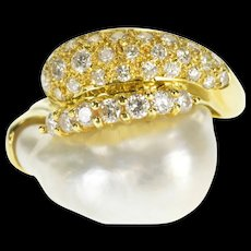 18K 1.20Ctw Diamond Encrusted Baroque Pearl Cocktail Ring Size 7 Yellow Gold [QWQX]