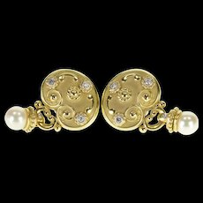18K Diamond Inset Pearl Dangle Ornate French Clip EarRings Yellow Gold  [QWQX]