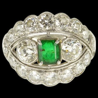 Platinum Art Deco 4.00 Ctw Diamond Emerald Engagement Ring Size 5.75  [QWQQ]