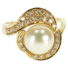 14K 0.25 Ctw Diamond Pearl Wavy Bypass Cocktail Ring Size 5.5 Yellow Gold [QWXT]
