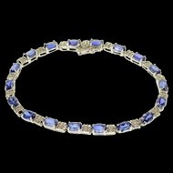 "10K 9.52 Ctw Oval Syn. Sapphire Diamond Accent Tennis Bracelet 6.5"" White Gold  [QWQX]"