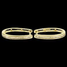 10K Baguette Diamond Channel Inset Oval Hoop EarRings Yellow Gold  [QWQX]