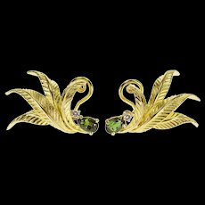 18K 0.62 Ctw Tourmaline Diamond Leaf French Back EarRings Yellow Gold  [QWQX]