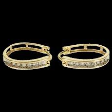 10K 0.32 Ctw Diamond Channel Inset Oval Hoop EarRings Yellow Gold  [QWQX]
