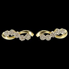 10K 0.70 Ctw Diamond Floral Cluster Wavy Curved Bar EarRings Yellow Gold  [QWQX]