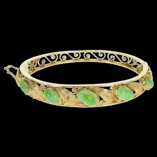 "18K 10.85 Ctw Jadeite Jade Oval Leaf Scroll Bangle Bracelet 7"" Yellow Gold  [QWQX]"