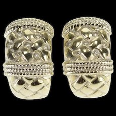 14K 0.30 Ctw Diamond Weave Rope Design French Back EarRings White Gold  [QWQX]