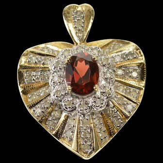 14K 2.00 Ctw Garnet Diamond Encrusted Wavy Heart Pendant Yellow Gold  [QWQQ]
