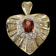 14K 2.00 Ctw Garnet Diamond Encrusted Wavy Heart Pendant Yellow Gold  [QRXF]