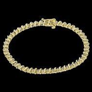 "10K 1.50 Ctw Diamond Inset Curve Bar Link Tennis Bracelet 7"" Yellow Gold  [QWQX]"