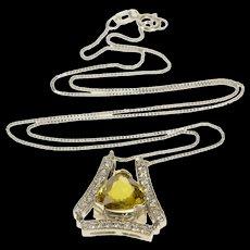 "14K 3.00 Ctw Zircon Diamond Trillion Box Link Necklace 16.25"" White Gold  [QWQX]"