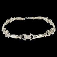 "18K 0.60 Ctw Heart Cluster Cubic Zirconia Oval Link Bracelet 7"" White Gold  [QWQX]"