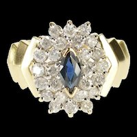 14K 1.15 Ctw Marquise Sapphire Diamond Cluster Ring Size 6.75 Yellow Gold [QRXF]