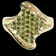 14K 1.17 Ctw Green White Diamond Encrusted Bypass Ring Size 7.75 Yellow Gold [QRXF]