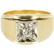 14K 0.20 Ct Round Brilliant Cut Diamond Square Inset Ring Size 9 Yellow Gold [QPQQ]