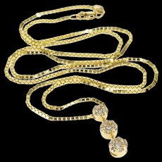 """14K 0.75 Ctw Diamond Round Floral Tier Cluster Necklace 20.25"""" Yellow Gold  [QWQX]"""