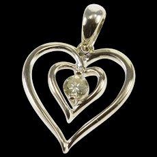 14K 0.12 Ctw Diamond Inset Layered Heart Pendant White Gold  [QWQX]