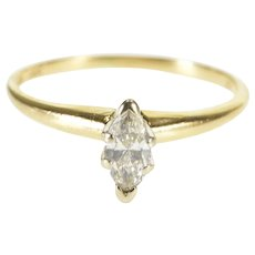 14K 0.25 Ct Marquise Diamond Solitaire Engagement Ring Size 5.5 Yellow Gold [QWQX]
