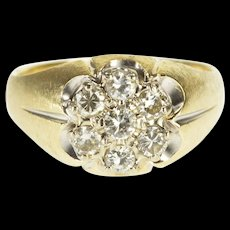 14K 1.26 Ctw Diamond Scalloped Cluster Textured Ring Size 13 Yellow Gold [QWQX]