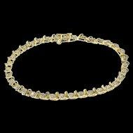"10K 0.75 Ctw Diamond Round Wavy Link Tennis Bracelet 7.25"" Yellow Gold  [QWQX]"