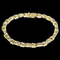 """14K 1.50 Ctw Baguette Channel Inset X Link Tennis Bracelet 7"""" Yellow Gold  [QWQX]"""