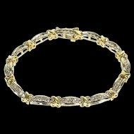 """10K 1.20 Ctw Channel Diamond Two Tone Tennis Bracelet 6.75"""" White Gold  [QWQX]"""