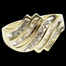 10K 0.78 Ctw Channel Inset Wavy Diamond Statement Ring Size 6.75 Yellow Gold [QWQX]