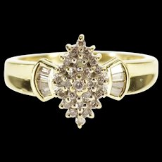 14K 0.50 Ctw Pointed Cluster Diamond Baguette Ring Size 9.75 Yellow Gold [QWQX]