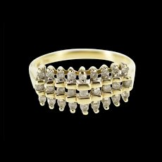 10K 0.30 Ctw Diamond Tiered Look Wedding Band Ring Size 6.75 Yellow Gold [QWQX]