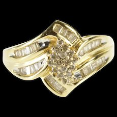 10K 0.88 Ctw Diamond Pointed Cluster Channel Baguette Ring Size 7 Yellow Gold [QWQX]