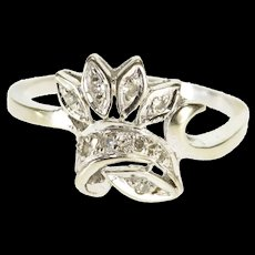 14K 0.10 Ctw 1940's Diamond Floral Crown Band Ring Size 10 White Gold [QWQX]