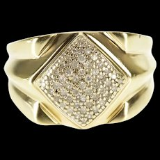 10K 0.50 Ctw Diamond Square Cluster Statement Ring Size 8.75 Yellow Gold [QWQX]