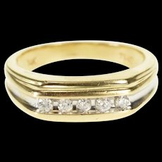 14K 0.30 Ctw Channel Inset Diamond Wedding Band Ring Size 9 Yellow Gold [QWQX]