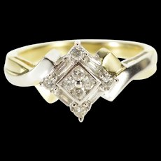 10K 0.25 Ctw Two Tone Diamond Cluster Engagement Ring Size 6 Yellow Gold [QWQX]