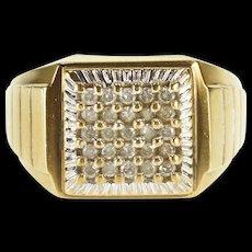 10K 0.75 Ctw Square Diamond Cluster Ridged Trim Ring Size 9.75 Yellow Gold [QWQX]