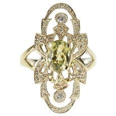 18K 1.85 Ctw Art Deco Diamond Zircon Engagement Ring Size 6.75 White Gold [QPQQ]