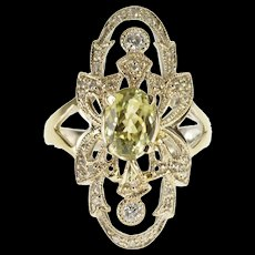 18K 1.85 Ctw Art Deco Diamond Zircon Engagement Ring Size 6.75 White Gold [QWQX]