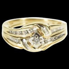 10K 0.42 Ctw Diamond Wavy Channel Engagement Ring Size 7.75 Yellow Gold [QWQX]