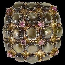 14K 0.40 Ctw Ruby Black Star Sapphire Ornate Ring Size 6.75 Yellow Gold [QWQX]