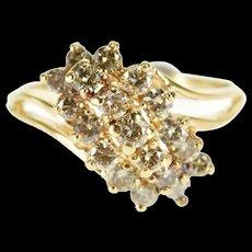 14K 0.80 Ctw Round Brilliant Cut Diamond Cluster Ring Size 8.5 Yellow Gold [QWQX]