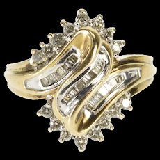 10K 0.76 Ctw Diamond Wavy Point Cluster Statement Ring Size 7.25 Yellow Gold [QWQX]