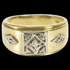 14K 0.10 Ctw Diamond Ornate Square Cluster Wedding Ring Size 7.5 Yellow Gold [QWQX]