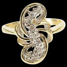 14K 0.30 Ctw Diamond Wave S Swirl Design Ring Size 5.5 Yellow Gold [QWQX]