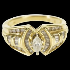 14K 0.71 Ctw Diamond Marquise Encrusted Engagement Ring Size 7 Yellow Gold [QWQX]