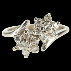 14K 0.36 Ctw Ornate Bypass Diamond Flower Cluster Ring Size 3.25 White Gold [QWQX]