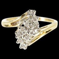 14K 0.30 Ctw Diamond Wavy Cluster Freeform Ring Size 5.25 Yellow Gold [QWQX]