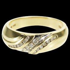 14K 0.25 Ctw Diamond Channel Inset Men's Wedding Ring Size 10.25 Yellow Gold [QWQX]