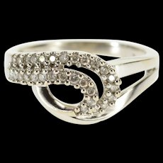 10K 0.30 Ctw Diamond Encrusted Wavy Loop Band Ring Size 6 White Gold [QWQX]