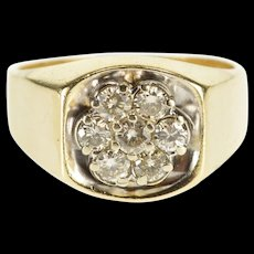 10K 1.26 Ctw Round Diamond Cluster Men's Squared Ring Size 11 Yellow Gold [QWQX]