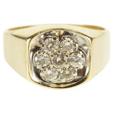 10K 1.26 Ctw Round Diamond Cluster Men's Squared Ring Size 11 Yellow Gold [QWXK]